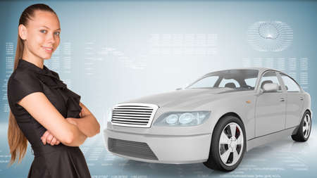 tailpipe: Businesslady with car looking at camera on abstract blue background Stock Photo