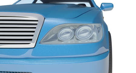front view: Blue car on isolated white background, front view