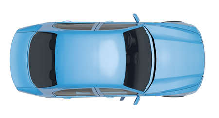 Car on isolated white background, top view