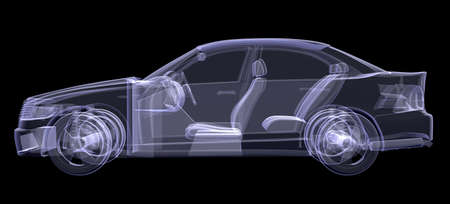 X-ray of car on isolated black background, side view