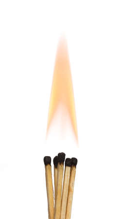 flame background: Burning matches on isolated white background, close-up view