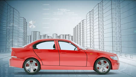 Red car on abstract urban background, side view Stock Photo