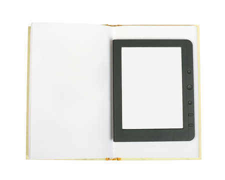 paper screens: Electronic book reader and blank paper book on isolated white background Stock Photo