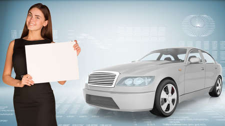 tailpipe: Businesslady holding blank paper and car looking at camera on abstract blue background