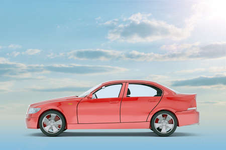 tailpipe: Red car on blue sky background, side view Stock Photo