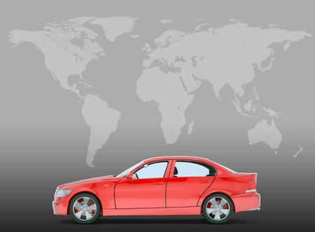 tailpipe: Red car on grey background with world map