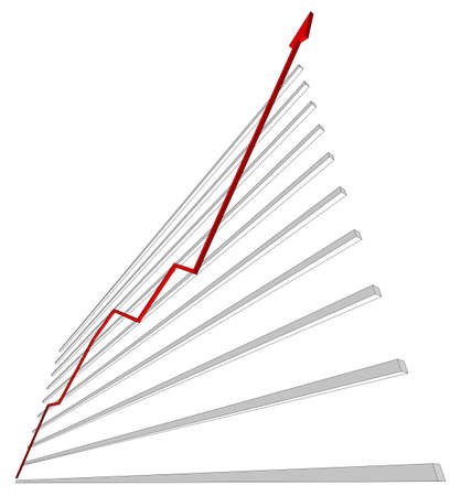 graphical chart: Diagram with red curve on isolated white background, bottom view. Vector illustration