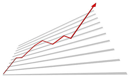 bottom: Graph with red arrow up on isolated white background, bottom view. Vector illustration