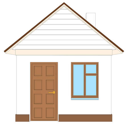 front view: White house with brown door on isolated white background, front view. Vector illustration