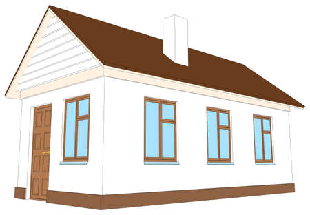 chimney pot: White house with chimney on isolated white background, side view. Vector illustration Illustration