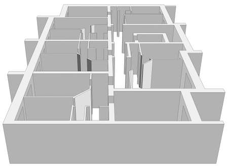 building plan: Building plan on isolated white background. Vector illustration. Close-up view