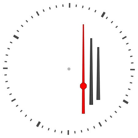 Round clock without numbers on isolated white background. Vector illustration