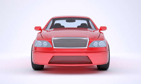 front of: Image of red car on white background, front view