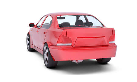 Image of red car on isolated white background, back view Stock Photo
