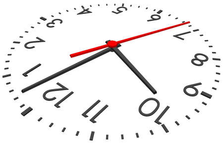 second hand: Clock face with red second hand and numbers on isolated white background. Vector illustration. Close-up view Illustration