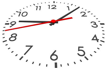tack: Clock face with numbers on isolated white background. Vector illustration