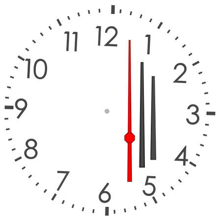 tack: Round clock with numbers on isolated white background. Vector illustration