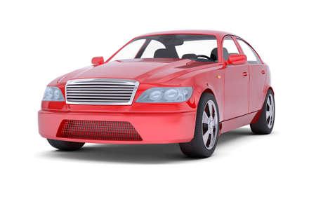 Afbeelding van de rode auto op witte achtergrond, vooraanzicht