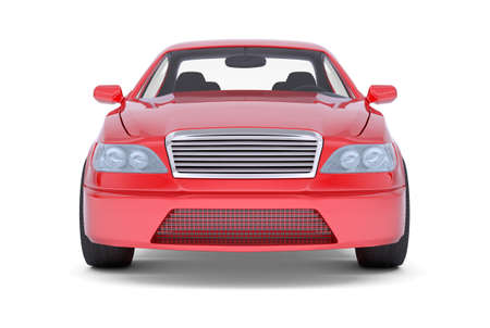 tailpipe: Image of red car on isolated white background, front view Stock Photo