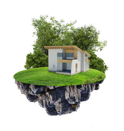 coziness: House with brown roof on island on isolated white background