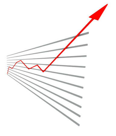 graphical: Graphical chart with red arrow up on isolated white background Stock Photo