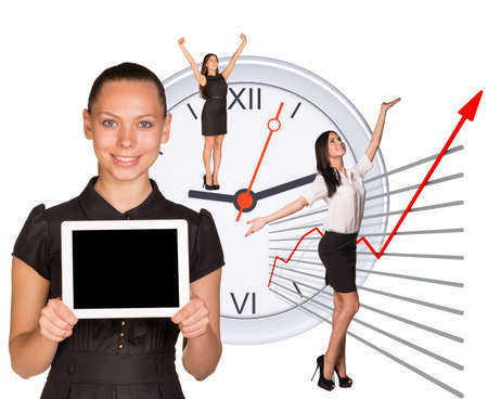Businesswomen in different postures on abstract white background photo