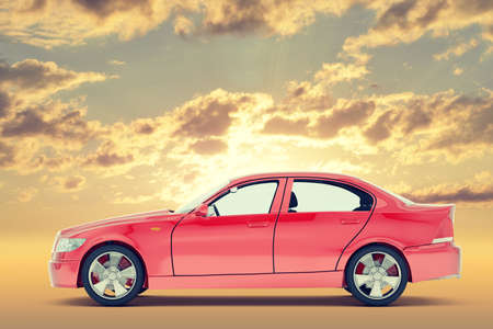 tailpipe: Red car on colorful sky background, side view
