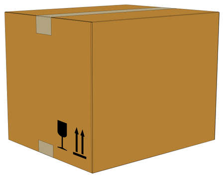 Carton box with tape on isolated white background, side view Illustration