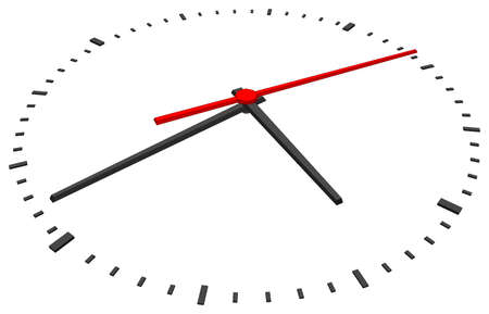 second hand: Clock face with red second hand and without numbers on isolated white background. Vector illustration. Close-up view Illustration