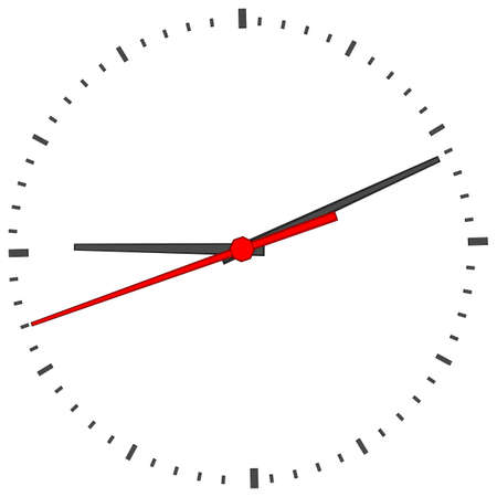 minute hand: Clock face without numbers on isolated white background. Vector illustration. Close-up view Illustration