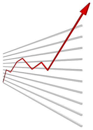 Graphical chart with red arrow up on isolated white background. Vector illustration Illustration
