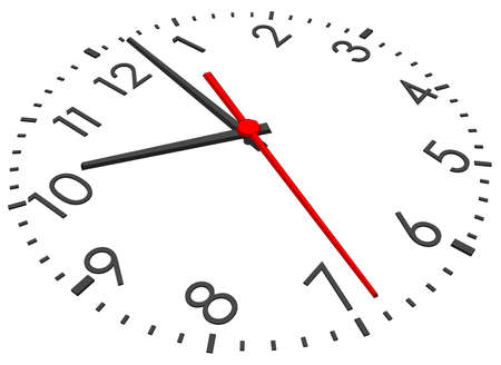 tack: Clock face with figures on isolated white background. Vector illustration. Close-up view Illustration