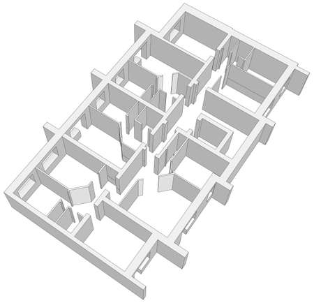 building plan: Building plan on isolated white background. Vector illustration. Top view
