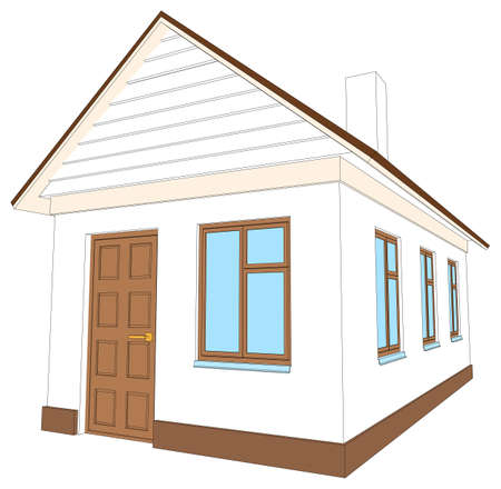 chimney pot: House with brown door on isolated white background, side view. Vector illustration