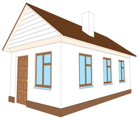 chimney pot: New house with brown door on isolated white background, side view. Vector illustration Illustration