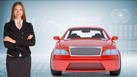 businesslady: Businesslady with red car looking at camera on abstract blue background