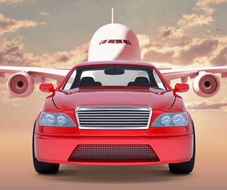 tailpipe: Image of red car with jet behind on red sky background