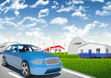 tailpipe: Blue car with wind generator and petrol station on urban background Stock Photo