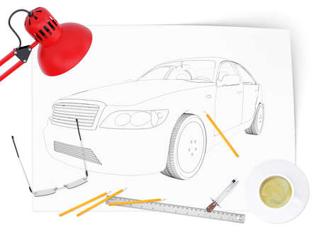 tailpipe: Graphic car model on blank sheet with lamp and different stuff on isolated white background, side view