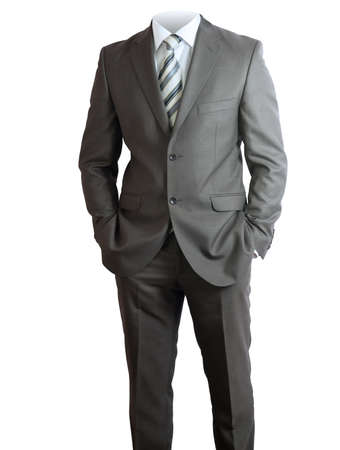 no shirt: Businessmans body in suit without head on isolated white background