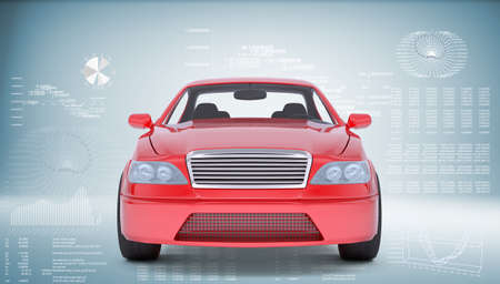 front view: Red car on abstract blue background, front view
