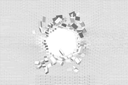 hole: Hole in white brick wall. Vector illustration