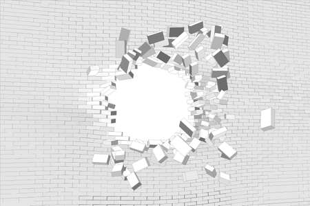 Hole in white brick wall. Vector illustration