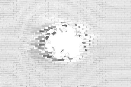 Pared de ladrillo blanca con agujero. Ilustración vectorial