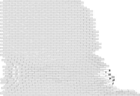 isolated on white: Broken wall on isolated white background. Vector illustration