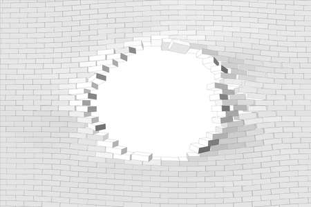 hole in wall: White brick wall with hole. Vector illustration