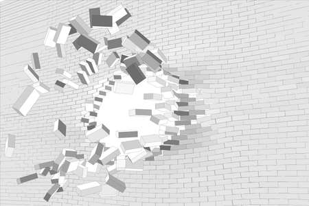 hole in wall: Big hole in white brick wall. Vector illustration Illustration