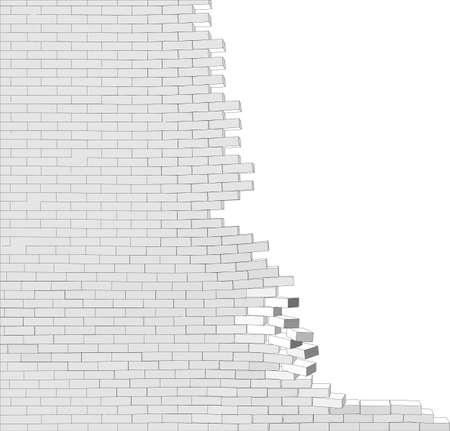 broken wall: Pared quebrada en el fondo blanco aislado. Ilustraci�n vectorial