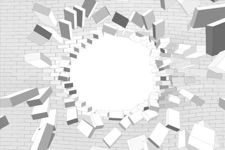 Part of broken wall with hole on isolated white background. Vector illustration
