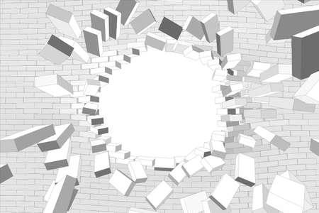 Parte del muro roto con el agujero en el fondo blanco aislado. Ilustración vectorial